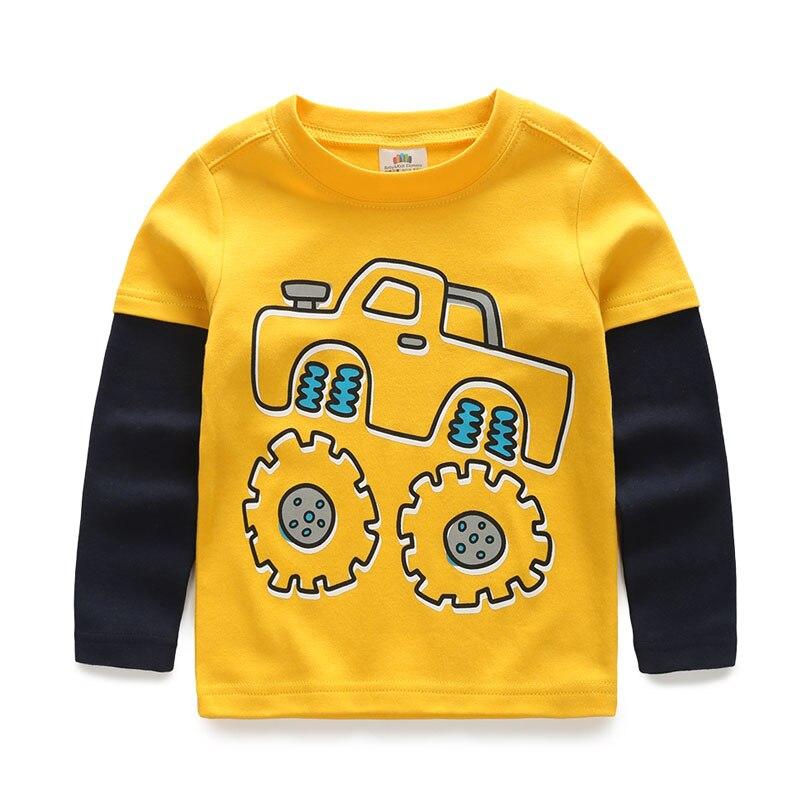 Niños camiseta niños Camisetas Bebé niño dibujos animados primavera niños manga larga Camiseta costura algodón coches camiones rayas otoño camisa