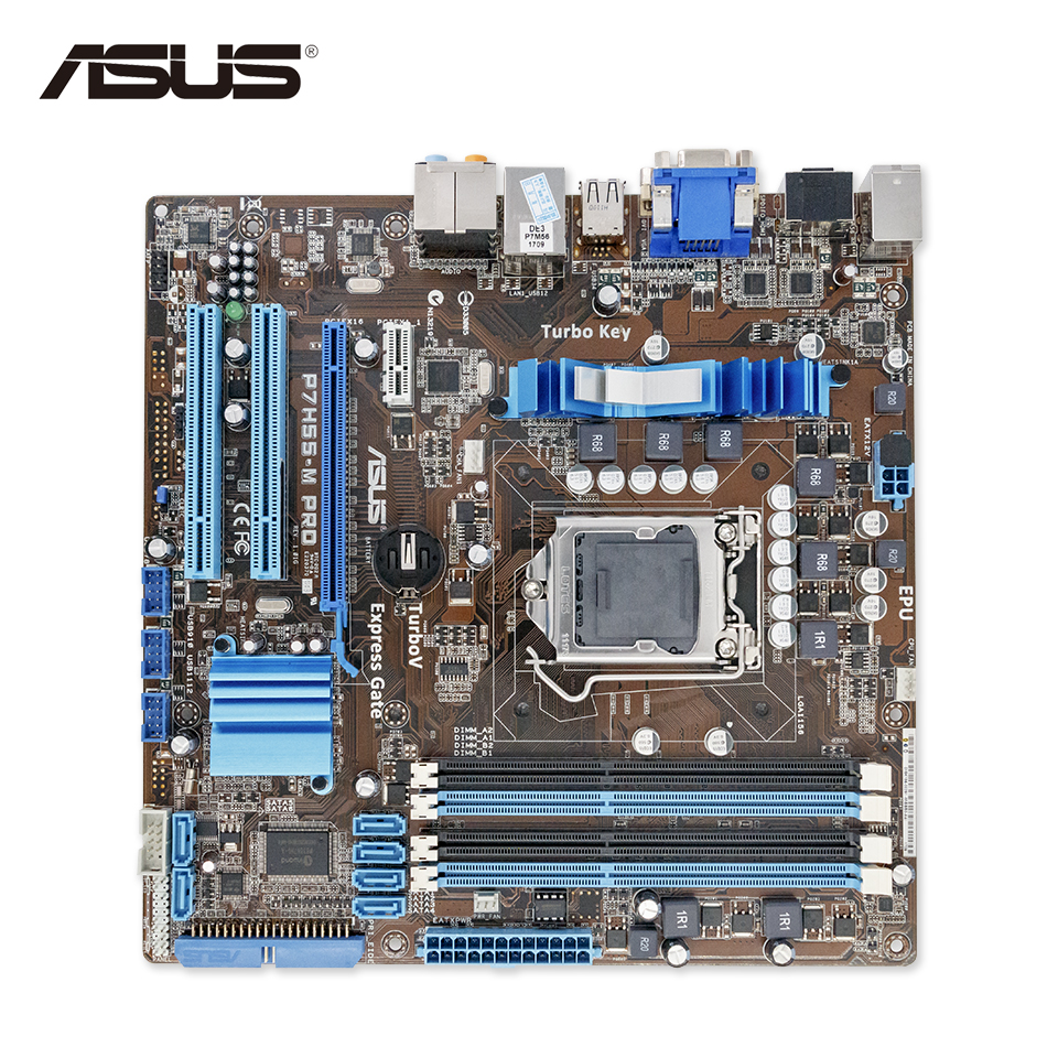 Asus P7H55-M PRO Stock New Desktop Motherboard H55 Socket LGA 1156 i3 i5 i7 DDR3 16G HDMI DVI VGA On Sale original new desktop motherboard for asus p7h55 m usb3 h55 support socket lga 1156 i7 i5 i3 maximum ddr3 16gb sata2 2 usb3 uatx