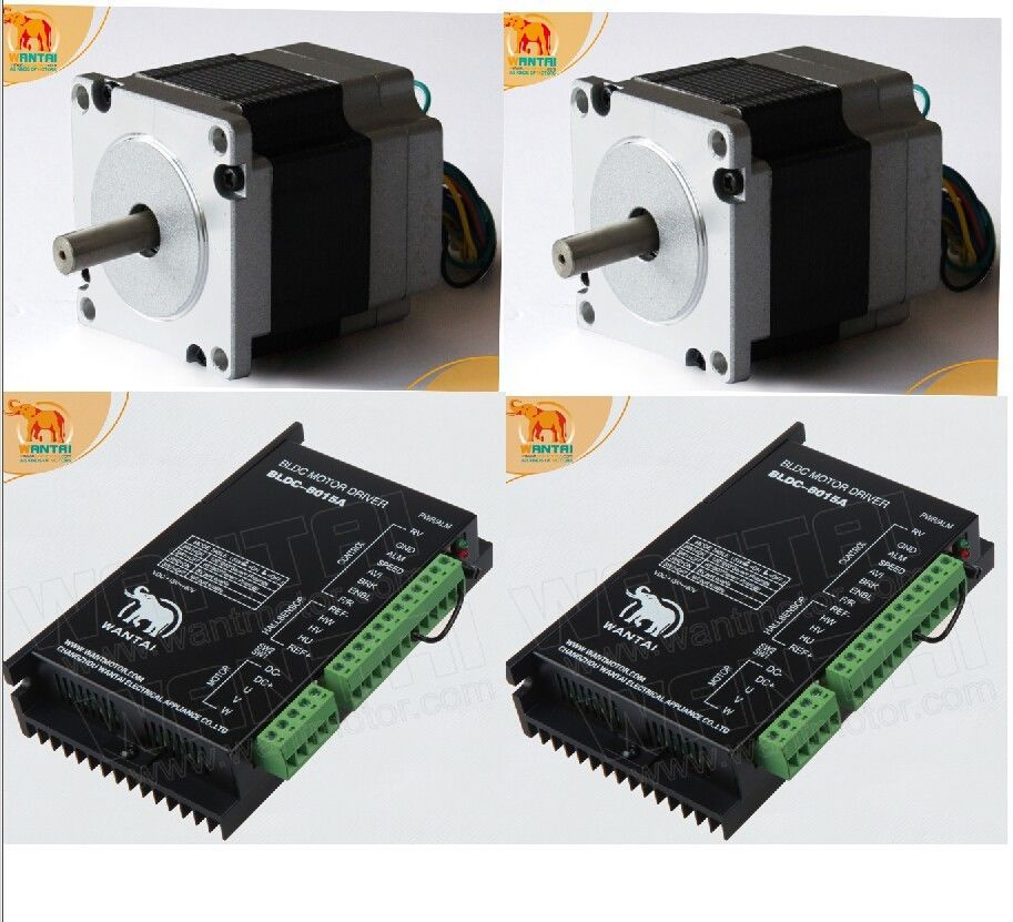 Factory Direct! 2 Axis 3D CNC Wantai Nema 23 Brushless DC Motor 3000RPM, 24VDC,63W,57BLF01& Driver BLDC-8015A, 80VDC,5000RPM