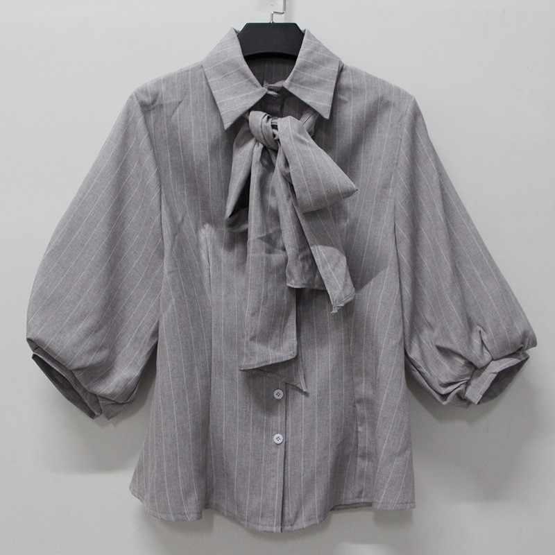 TWOTWINSTYLE летняя полосатая женская блузка с лацканами и рукавами-фонариками с бантом, тонкая женская мода 2019, элегантная одежда, новинка