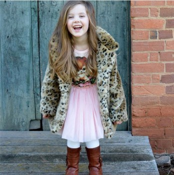 Toddler Girls Winter Clothes Leopard Jackets for Kid Long style fur coats Little girls warm jackets full sleeve turn-down collar