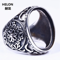 Wholesale 925 Sterling Silver Men Ring Engagmeent Wedding Party Punk Semi Mount Ring 16x22mm Oval Cabochon Lapis Lazuli Setting