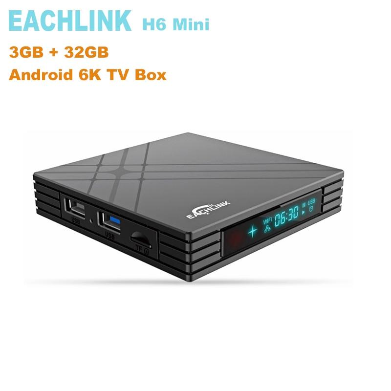 EACHLINK H6 Mini Smart TV Box Allwinner H6 3 GB RAM 32 GO ROM 2.4G WiFi 100 M USB3.0 BT4.1 Soutien 6 K H.265 Set Top Box Avec Écran