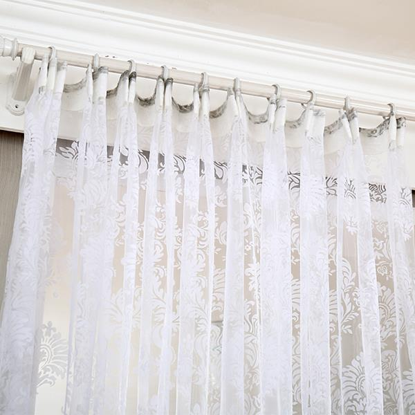 Top Finel modern cheap flocked tulle for window sheer curtains for kitchen living room the bedroom door blinds curtain fabric in Curtains from Home Garden