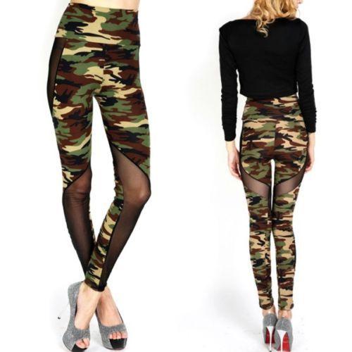 Women Sexy Mesh Camouflage Leggings Female Leggings High Waist Patchwork Stretchy Slim Army Camo Leggings
