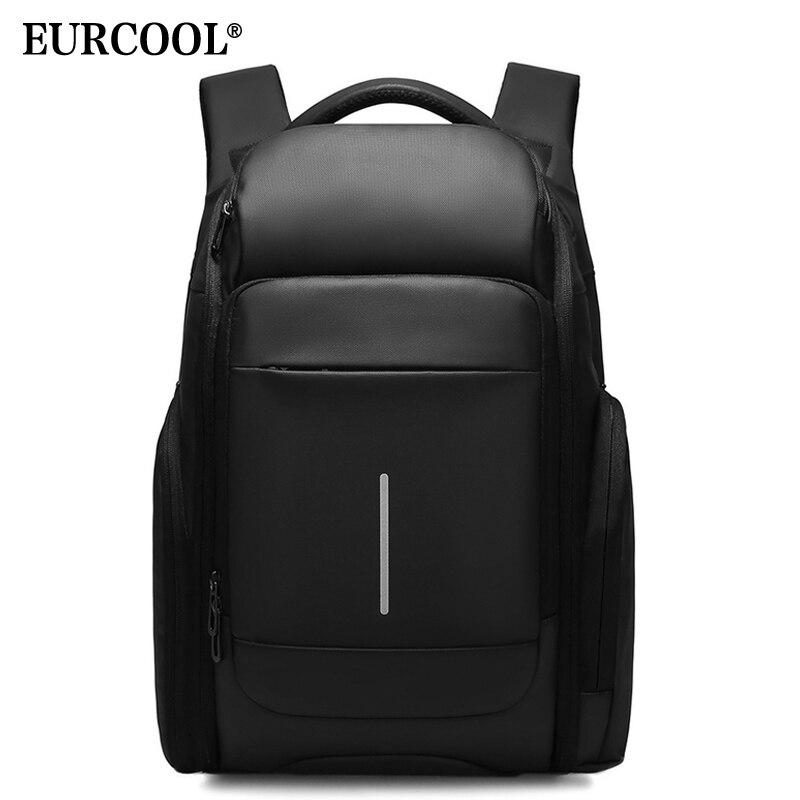 EURCOOL Для мужчин путешествия рюкзак используется для 15,6 дюймового ноутбука Multi-сумки с отделениями мужской Mochila водоотталкивающая Бизнес рюк...