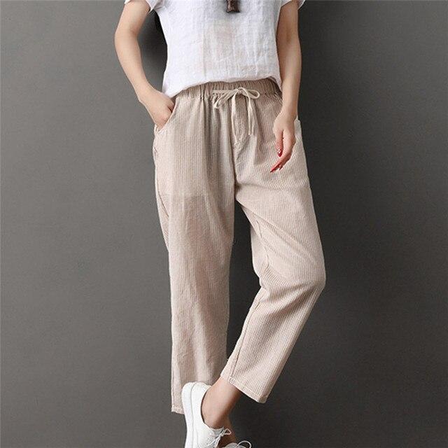 8c66db67a9 Womens Ladies Casual Flax Stripe Wide Leg Cropped Trousers Nine Pants  Pantalones De Cintura Mediados De Mujer Sarouel Pantalo#Z2