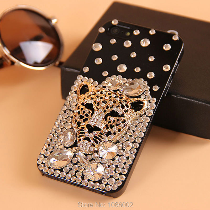 Hot Tiger Leopard Head Crystal Bling Cases for Samsung Galaxy S8 S7 S6 Edge S5 Note 8 5 iPhone X