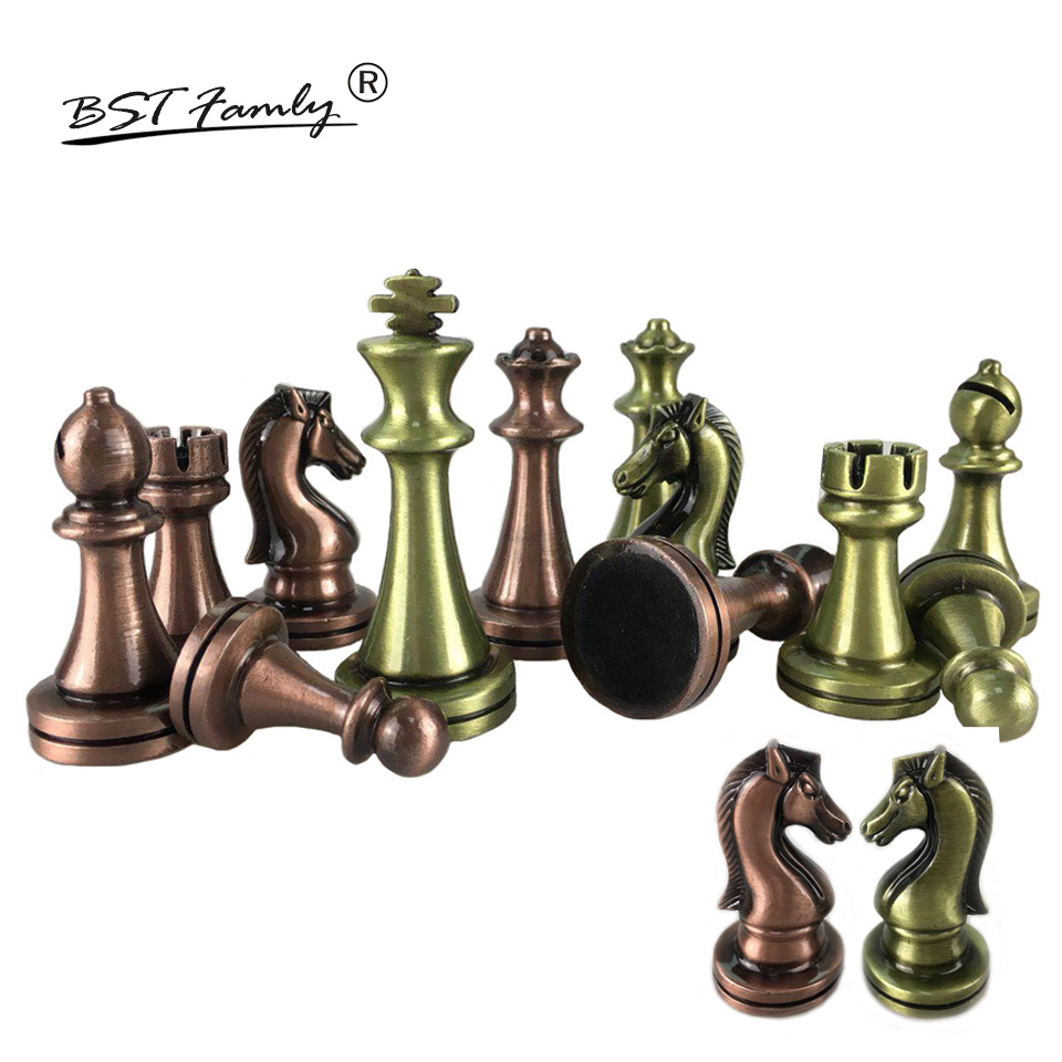 BSTFAMLY Chess Set Kirsite Electroplating Technology Chess Piece High Grade King Height 67mm Chess Game Bright Chess Piece IA4 chess