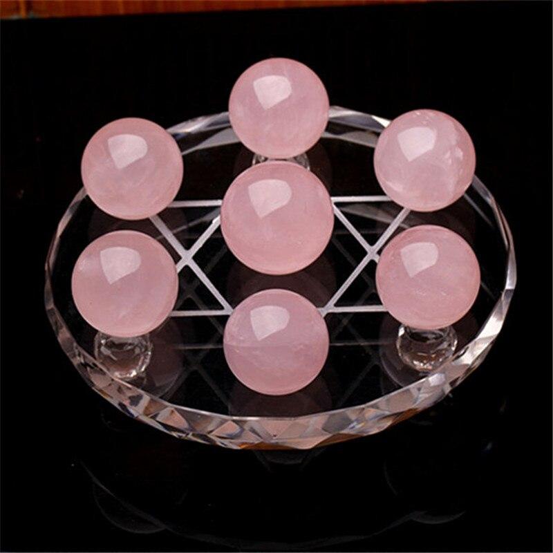 Naturel rose quartz Cristal précieuses sphère grille sept tableau étoiles méditation reiki guérison chakra rose rose quartz boule de cristal