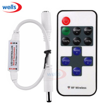 Hot sell 1Pcs Mini RF Wireless Led  Remote Dimmer Controller use For Single Color 5050 3528 5630 5730 3014 LED Light Strip
