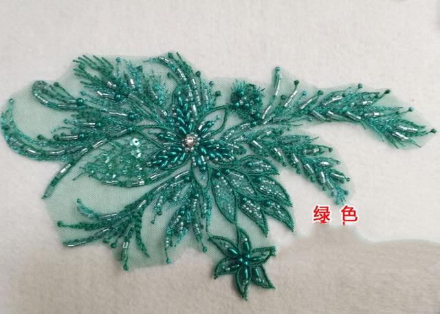 Robe en dentelle cousue à la couture 1 pièce   Bordure de tissu en dentelle perlée, avec des appliques, chemisier, col dencolure, Costume, décoration bricolage, 25x15cm