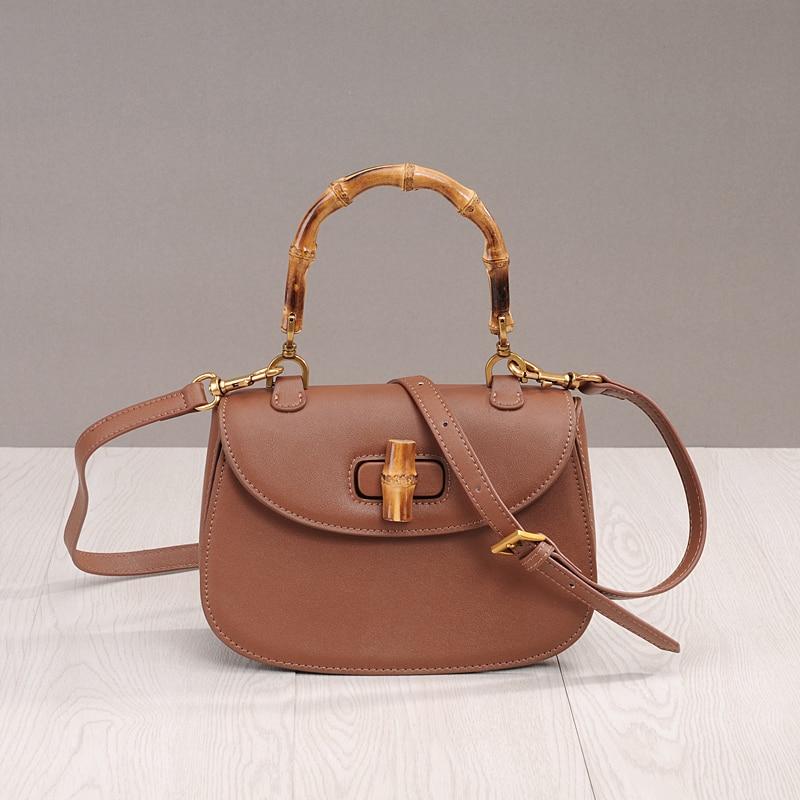 PRAVESDA vintage bamboo top handle design handbags women fashion nature tote bags