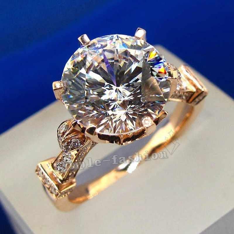 Luxus Schmuck Rose Gold Runde cut 2ct Stein AAAAA zirkon cz 925 Sterling Silber, Verlobung, Hochzeit Band Ring für frauen