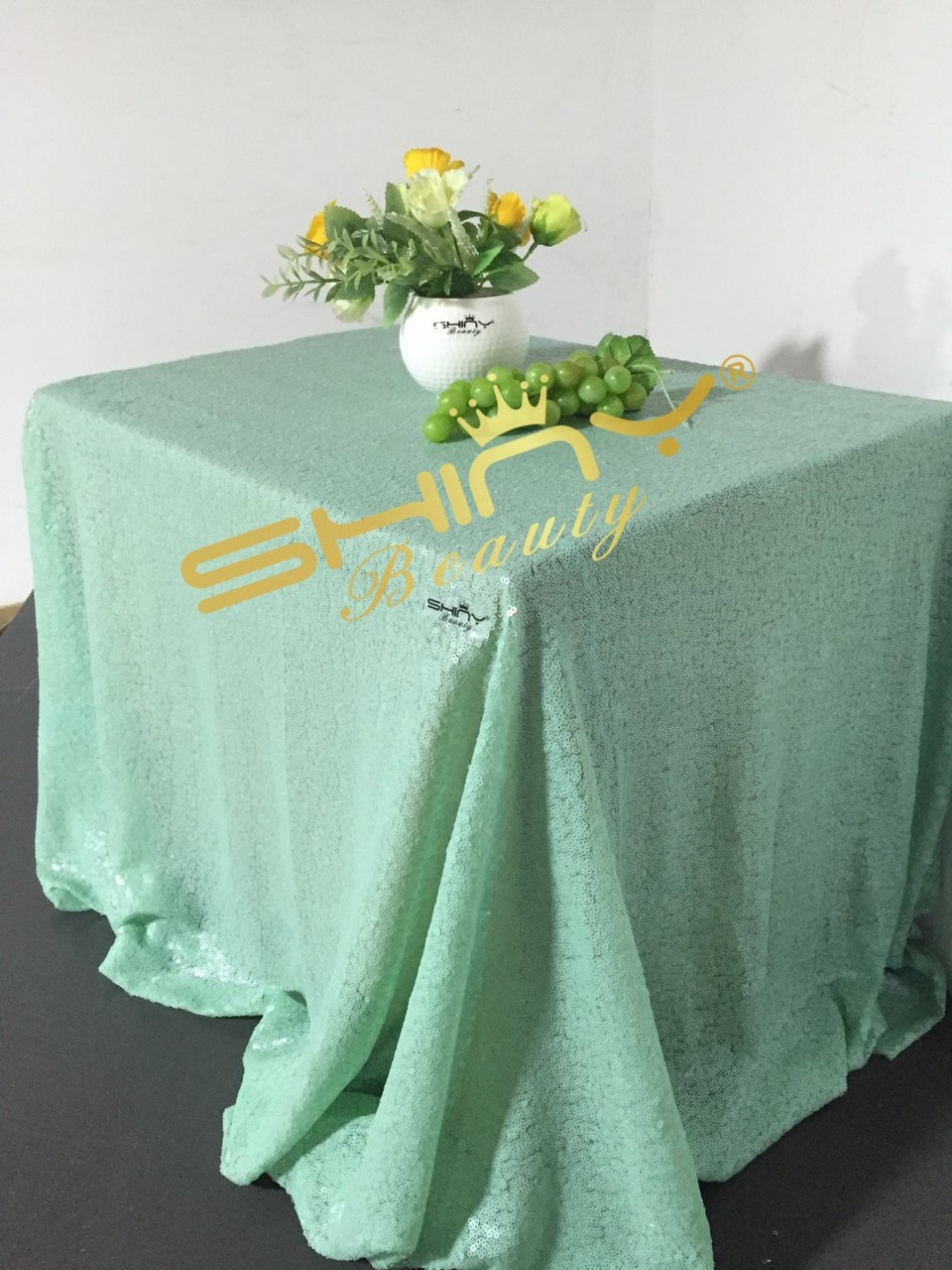 New Sale90x156Mint Green Sequin Tablecloth Wedding Table