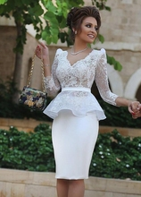 V-Neck Knee Length Long Sleeve Cocktail Dress Short Lace Peplum Party Dress