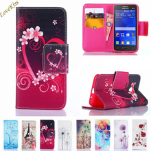 Flower Pattern Leather Phone Case For Samsung Galaxy Core 2 Grand Prime G360 G530 G355H A5