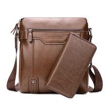 Berühmte Marke Business-tasche Mann Leder Messenger Mann Laptop 2 Satz Tasche männer Taschen handtasche Messenger Casual Schulter Aktentasche männlich