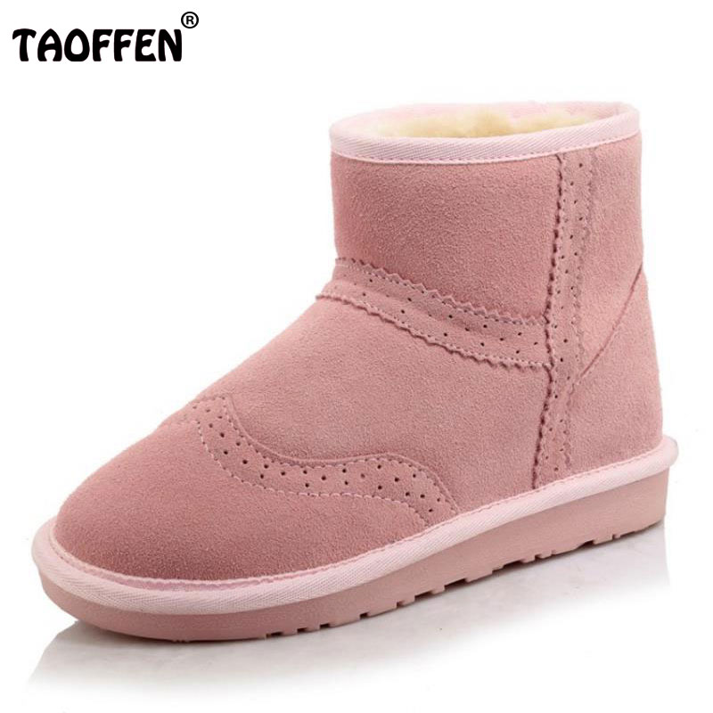 TAOFFEN Size 34-43 Cold Winter Snow Shoes Women Real Leather Thick Fur Inside Snow Boots Women Platform Flat Botas Feminina rizabina cold winter snow shoes women real leather warm fur inside ankle boots women thick platform warm winter botas size 34 39