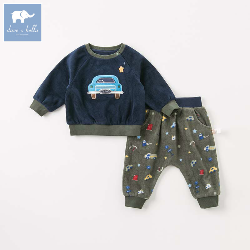 DBW8198 dave bella autumn baby boys long sleeve clothing sets infant toddler top pants 2 pcs
