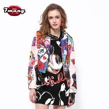 7mang 2017 new women street poker graffiti printing space cotton short jacket long sleeve slim rivet stand neck coat