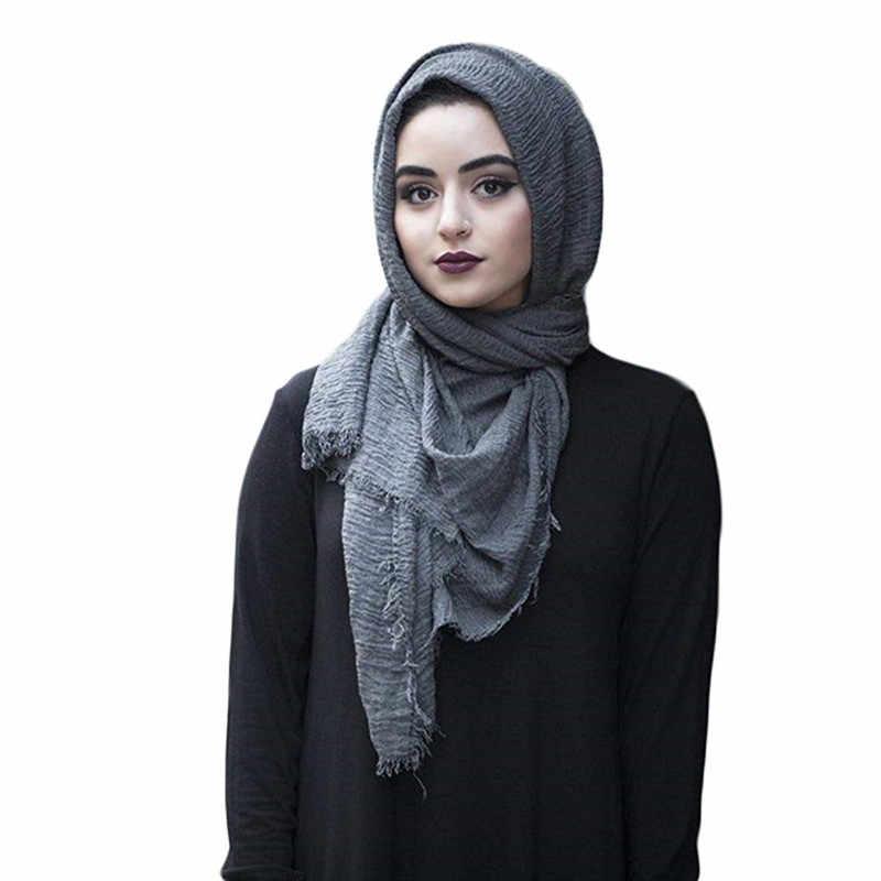 2019 Wanita Gelembung Katun Solid Muslim Islam Kepala Syal Selendang dan Membungkus Pashmina Wanita Foulard Viscose Maxi Crinkle Cloud Hijab