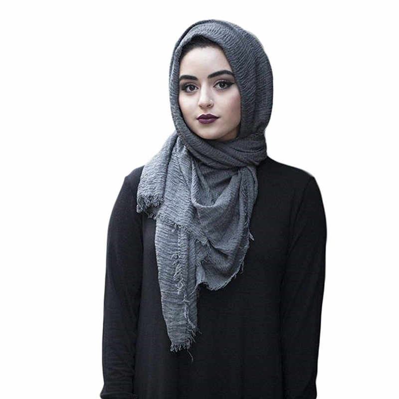 2019 mujeres burbuja de algodón sólido islámico musulmán cabeza bufanda chales pashmina y envolturas femenina foulard viscosa maxi arruga nube hijab