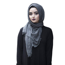 2019 women bubble cotton solid Islam muslim head scarf shawls and wraps pashmina female foulard viscose maxi crinkle cloud hijab