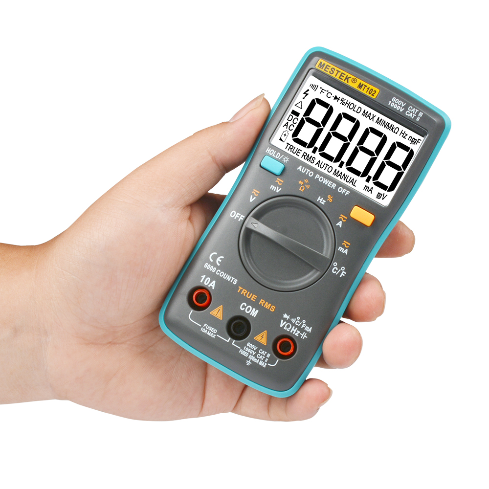 MT102 Multimeter 6000 counts Back light AC/DC Ammeter Voltmeter Ohm Frequency Diode Temperature an8002 multimeter 6000 counts back light ac dc ammeter voltmeter ohm frequency diode temperature y40