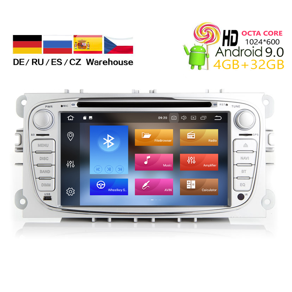 HIRIOT Car Android 10.0 DVD <font><b>GPS</b></font> Player For <font><b>Ford</b></font> Focus C-Max S-MAX <font><b>Mondeo</b></font> 4GB+64GB Auto Navigation Radio BT Sat Navi Wifi SD DAB+ image