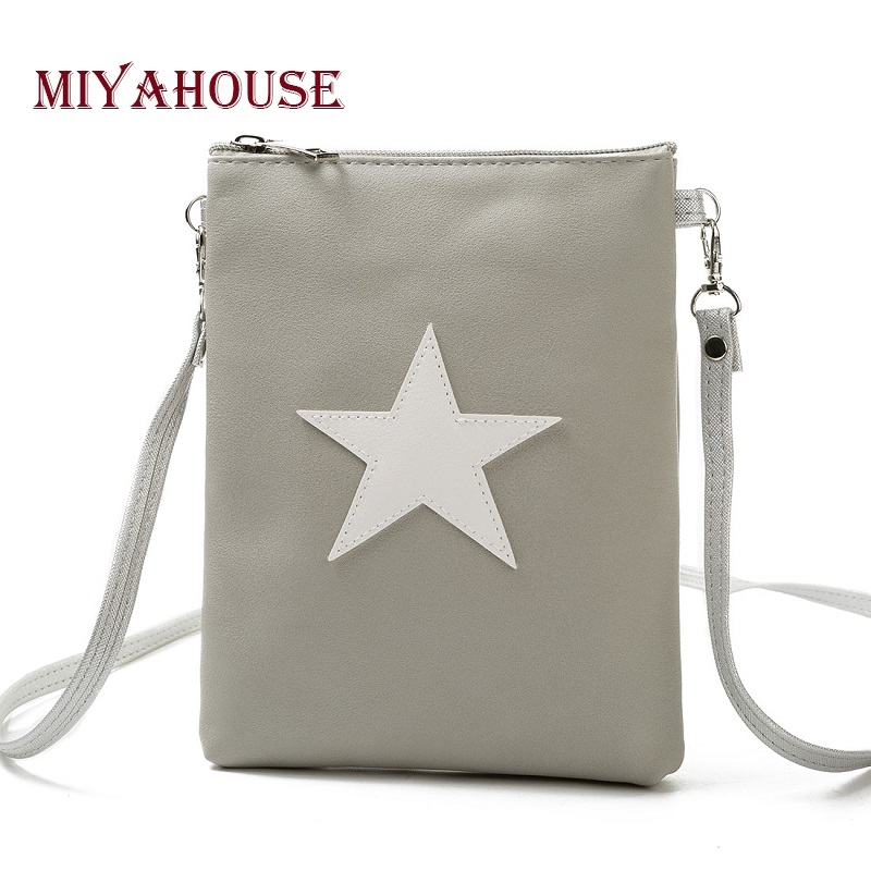 Miyahouse Casual Star Design Mini Shoulder Bag Phone Bag Female Double Zipper Soft Leather Women Crossbody Messenger Bag miyahouse fashion colorful tassel design messenger bag women double zipper small shoulder bag female canvas lady flap bag
