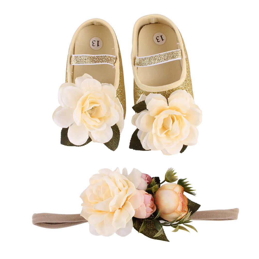 Flower Infant Baby Girl Shoes + Headband Newborn Girls Photography for Newborn Baby Birthday Gift  Available 0-12 Months