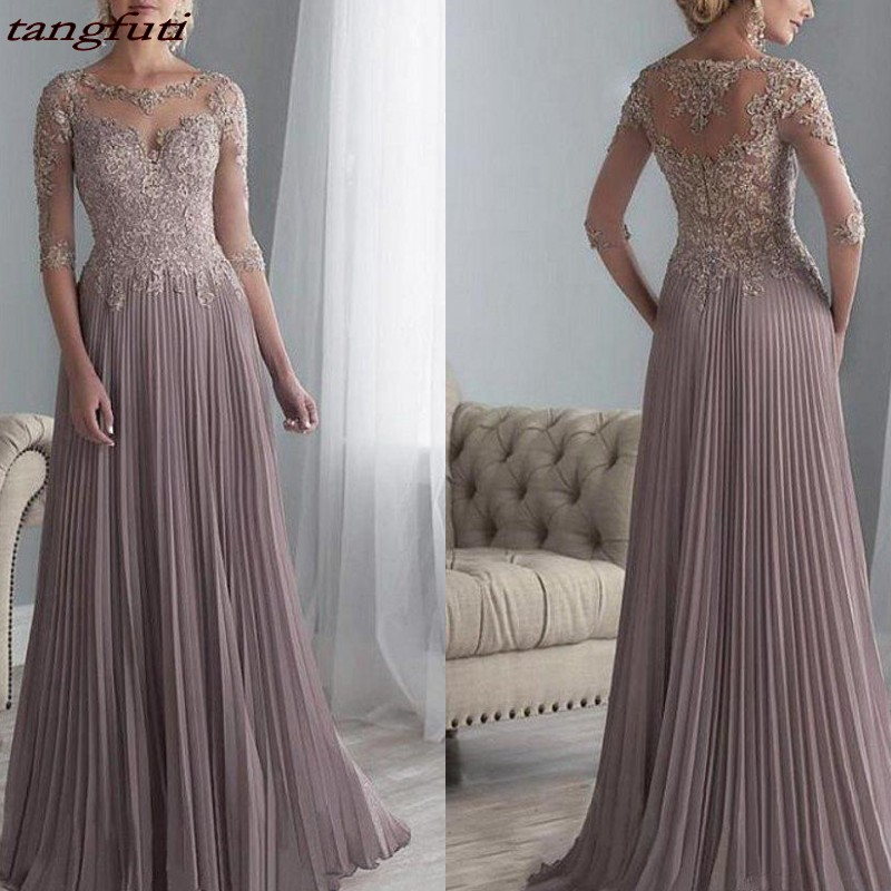 Mother Of The Bride Dresses Long 2019 Chiffon Pleated Lace Applique A Line With 1/2 Sleeves Women Party Wedding Formal Evening