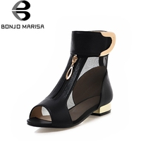 BONJOMARISA 2018 Summer New Elegant Brand Mesh Sandals Metal Decoration Peep Toe Shoes Woman Low Heels