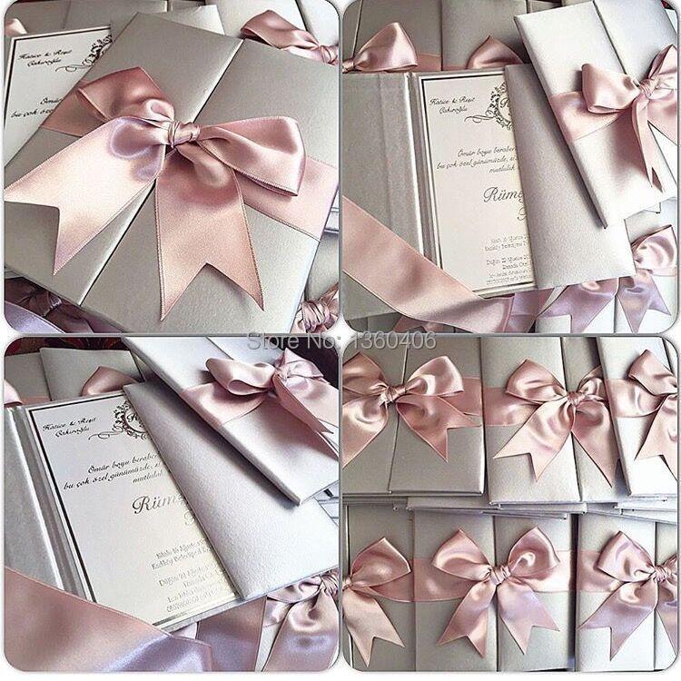Online Royal Blush Pink Silver Wedding Invitation Cards Silk Box With Ribbon Aliexpress Mobile