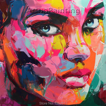 Palette knife painting portrait Palette knife Face Oil painting Impasto figure on canvas Hand painted Francoise Nielly 16-20
