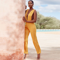 New Fashion Hot Selling Orange Bodycon Bandage Jumpsuit Sleeveless Summer Party Jumpsuits Outfit Casual Clothing Dropshipping