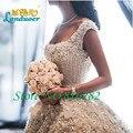 2016 Catedral/Royal Train vestido de Baile Vestidos de Casamento de Luxo Pérolas Beading Handmake Flores Longo Vestido De Noiva De Alta Qualidade