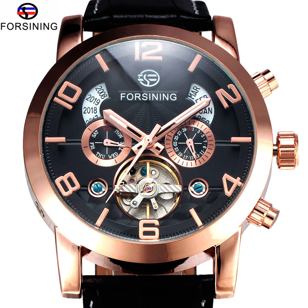 FORSINING Brand Rose Gold Mechanical Watch Date Day Leather Strap Male Clock Men Business Wrist Self Wind Automatic Watch limited edition seiko 5 sports day date men s automatic mechanical watch srp723