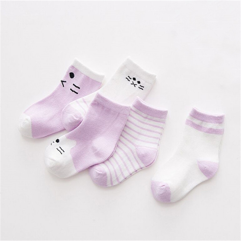 5 Pairs / Lot Cotton Striped Stockings Cute Baby Boys Girls Toddler Baby Stockings Newborn Baby Toddler Stockings