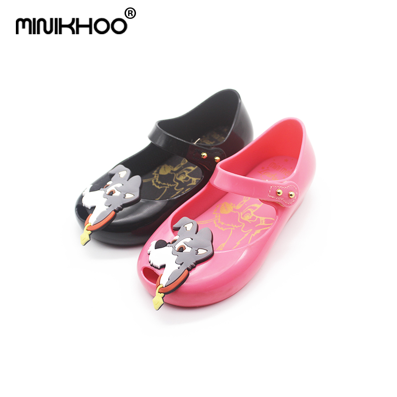 Mini Melissa Original Dog Pattern 2 Color Girls Jelly Sandals 2018 Summer Children Shoes Baby Princess Melissa Sandals Non-slip
