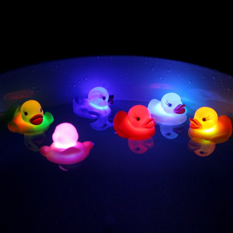 HBB LED Flashing Light Rubber Floating Duck Bathtub Shower Toy For Kids Children