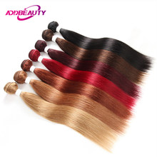 Addbeauty 613 Color Blonde Bundles 99J 27 30 1B 4 Red Burg 33 Straight Brazilian Human Remy Hair 1 PC Weave Extensions Inch(China)