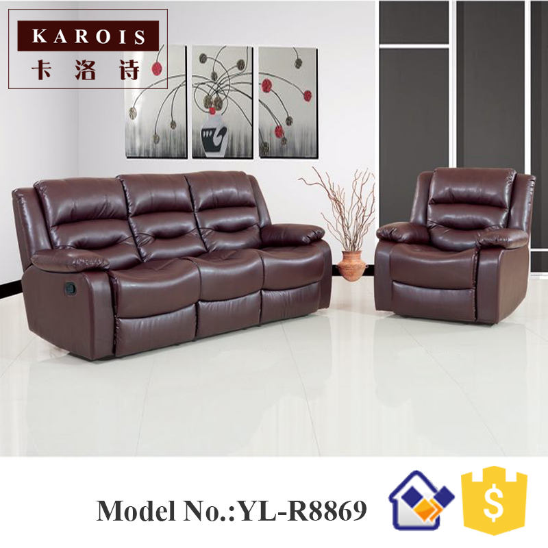 Dubai Modern Leather Living Room Furniture 3 Seat Recliner Sofa In