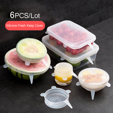 6Pcs/Lot Stretchable Silicone Food Fresh Keeping Saran Wrap Cover Multifunctional Reusable Wraps Seal Lid Stretch