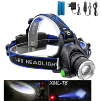 Hot Rechargeable CREE XML T6 200Lumens Zoom Head Lamp LED Headlamp 18650 Battery 4200mAh LED Headlight