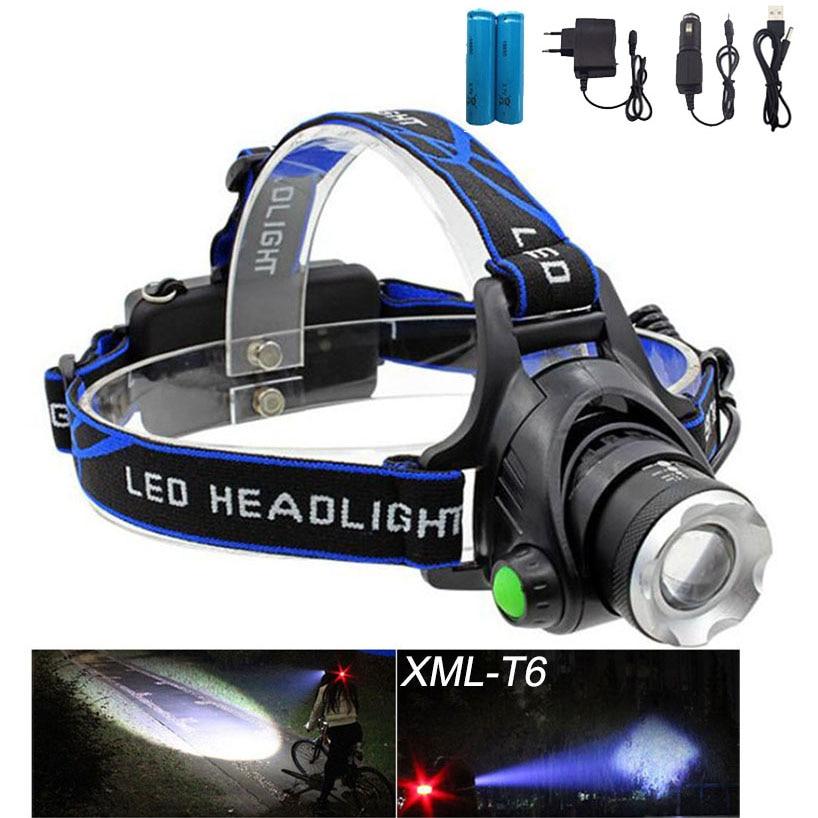 Rechargeable CREE XML T6 2000Lumens Zoom Head Lamp torch <font><b>LED</b></font> Headlamp + 18650 Battery Headlight Flashlight Lantern night fishing