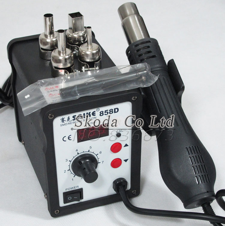 SAIKE 858D BGA Hot Air Rework Station Temperature Digital Display BGA Desolder Station SMD Rework station+4PCS BGA nozzles