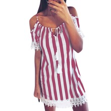 Dress Women's Casual Striped Spaghetti Strap Cold Shoulder Short Sleeve A-Line Lace Stitching Dress Party Dress недорого