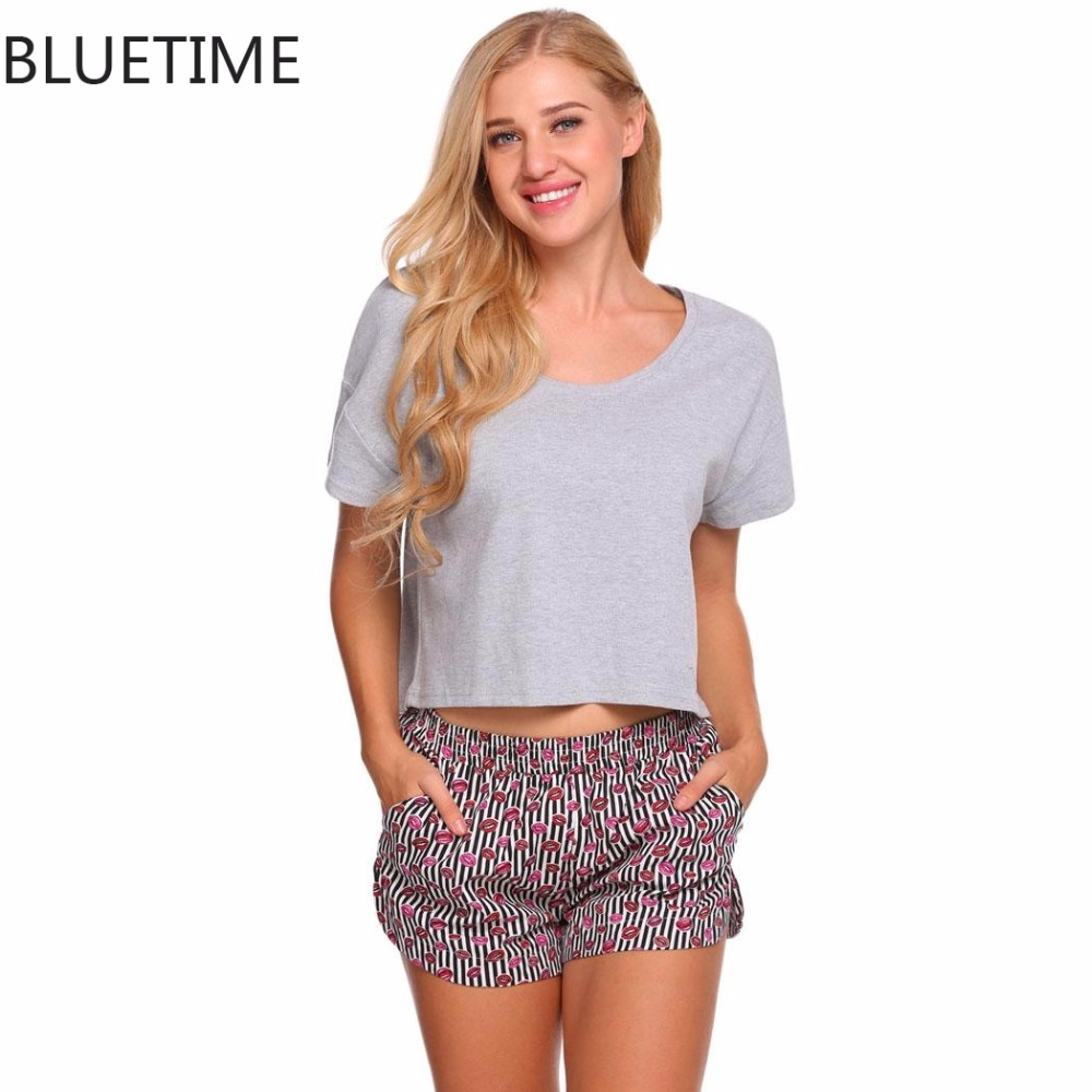 0b3bfd49e376b Women Pajamas Set Woman Clothes Summer Short Sleeve Crop Top And Shorts  Suit Lounge Sleepwear Sleep Home Might Wear Pyjama Femme-in Pajama Sets  from ...
